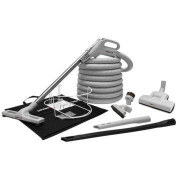Central vacuum deluxe accessory kit with air driven brush