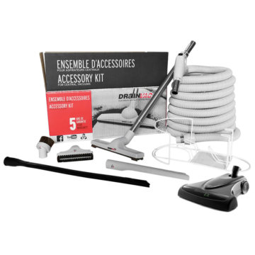 Central vacuum accessory kit with high-performance air driven brush