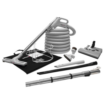 Central vacuum deluxe accessory kit with Lindhaus electric brush