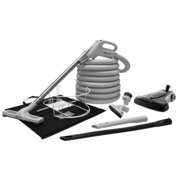 Central vacuum deluxe accessory kit with high-performance air driven brush