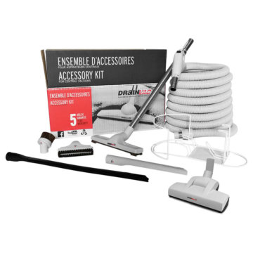 Central vacuum accessory kit with air driven brush
