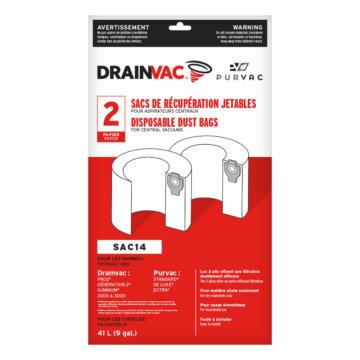 Central vacuum disposable dust bags